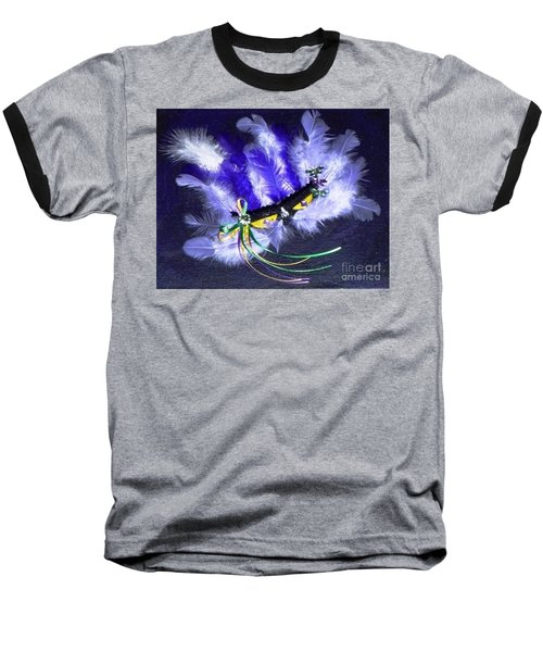 Baseball T-Shirt featuring the painting Mardi Gras On Purple by Alys Caviness-Gober