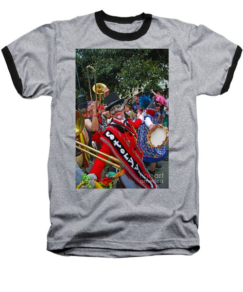 Baseball T-Shirt featuring the photograph Mardi Gras Storyville Marching Group by Luana K Perez