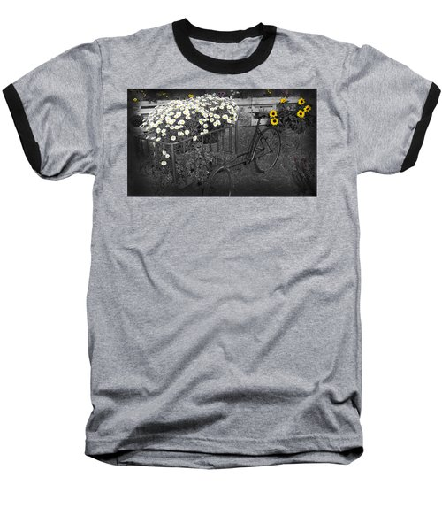 Marguerites And Bicycle Baseball T-Shirt