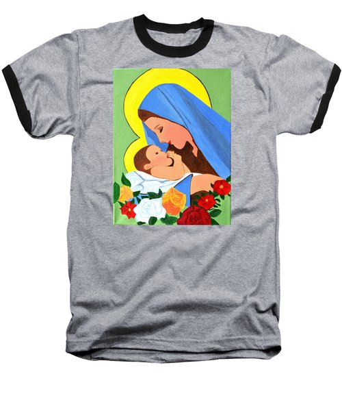 Baseball T-Shirt featuring the painting Maria And Baby Jesus by Magdalena Frohnsdorff