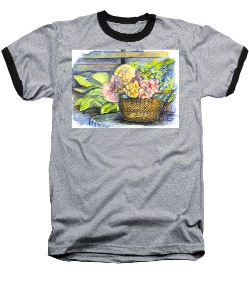 Marias Basket Of Peonies Baseball T-Shirt by Carol Wisniewski
