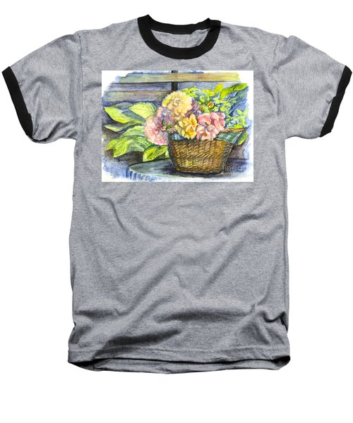 Marias Basket Of Peonies Baseball T-Shirt