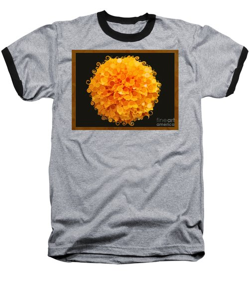 Marigold Magic Abstract Flower Art Baseball T-Shirt