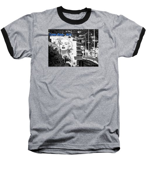 Baseball T-Shirt featuring the photograph Marilyn In Cannes by Jennie Breeze