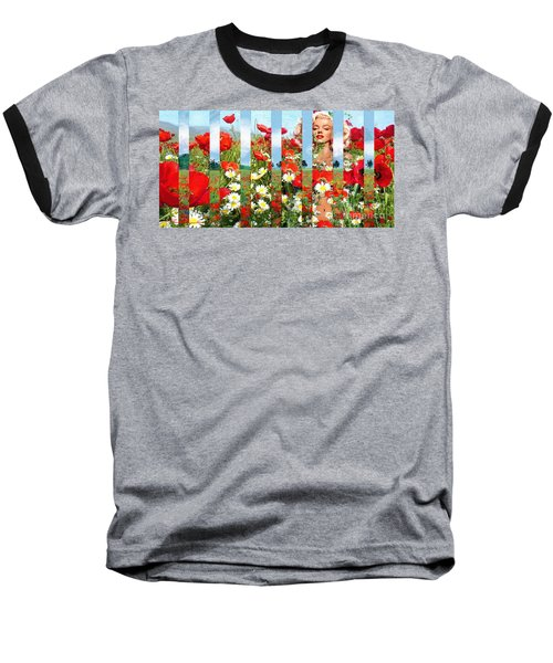 Marilyn In Poppies 1 Baseball T-Shirt