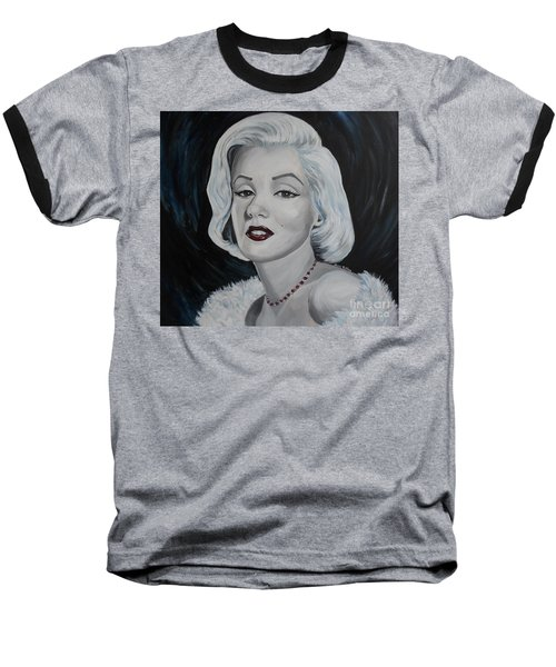 Baseball T-Shirt featuring the painting Marilyn Monroe by Julie Brugh Riffey