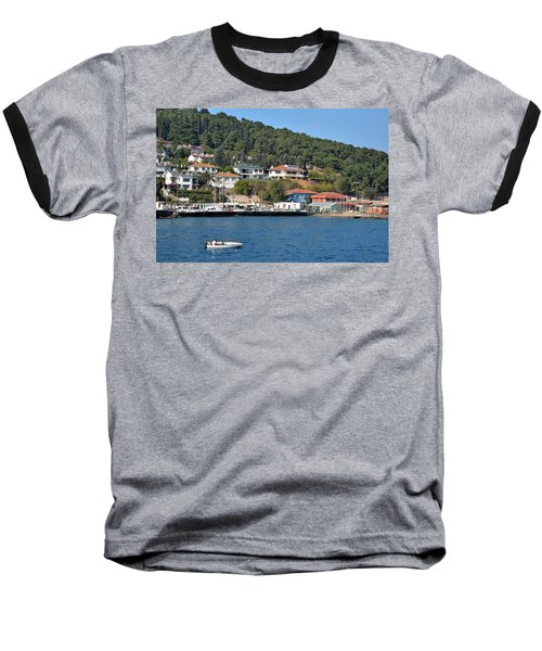 Baseball T-Shirt featuring the photograph Marina Bay Scene With Boat And Houses On Hills by Imran Ahmed