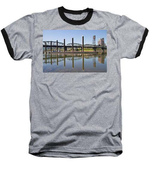 Baseball T-Shirt featuring the photograph Marina By Willamette River In Portland Oregon by JPLDesigns