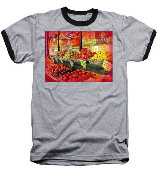Apples And Plums In Red - Outdoor Markets Of New York City Baseball T-Shirt by Miriam Danar