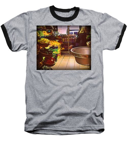 Market With Bronze Scale Baseball T-Shirt by Miriam Danar