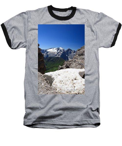 Baseball T-Shirt featuring the photograph Marmolada From Saas Pordoi by Antonio Scarpi