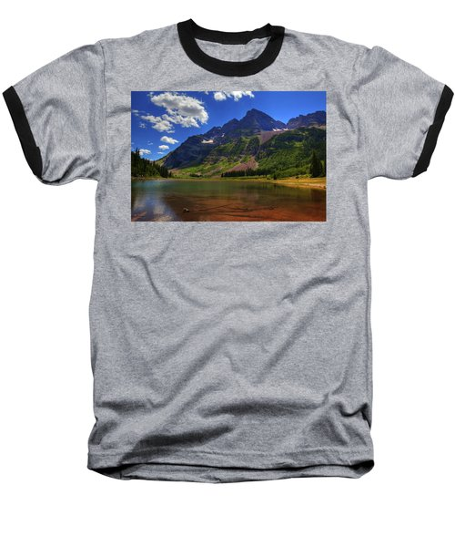 Baseball T-Shirt featuring the photograph Maroon Bells by Alan Vance Ley