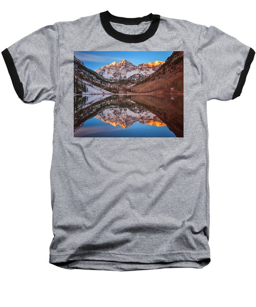 Maroon Bells Alpenglow Baseball T-Shirt