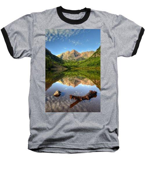 Maroon Bells And Maroon Lake Baseball T-Shirt by Ken Smith