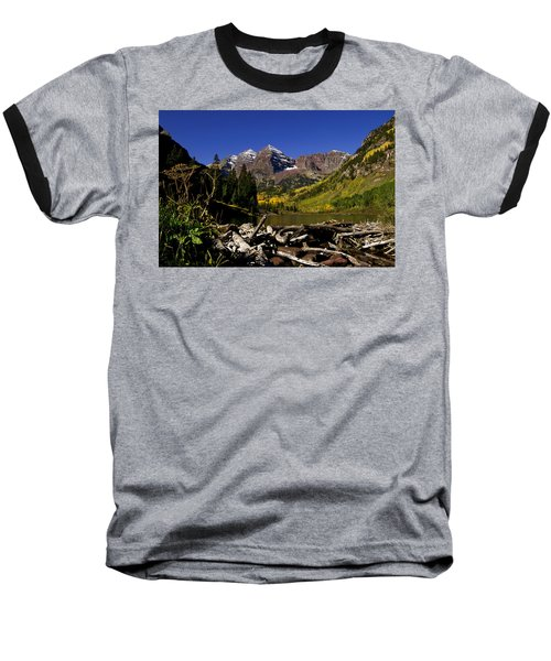 Baseball T-Shirt featuring the photograph Maroon Bells by Jeremy Rhoades