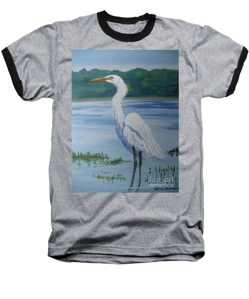 Marsh Land Egret Baseball T-Shirt