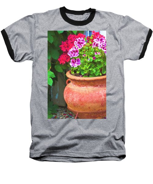 Baseball T-Shirt featuring the photograph Martha Washington Geraniums In Textured Clay Pot by Sandra Foster