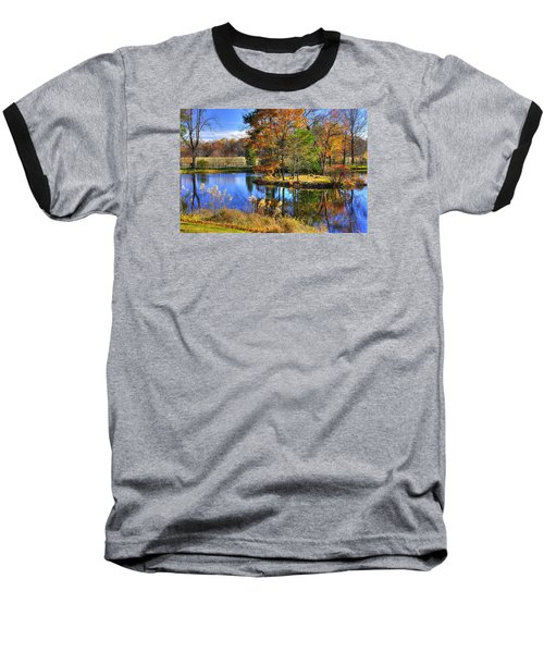 Maryland Country Roads - Autumn Respite No. 1 - Stronghold Sugarloaf Mountain Frederick County Md Baseball T-Shirt by Michael Mazaika