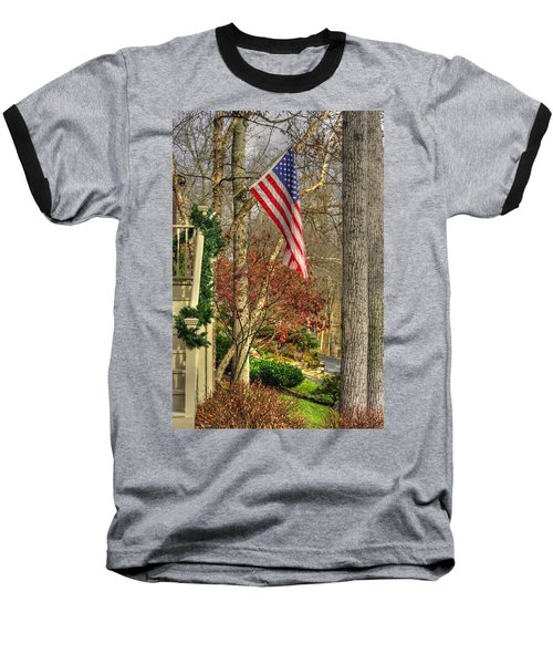 Maryland Country Roads - Flying The Colors 1a Baseball T-Shirt by Michael Mazaika