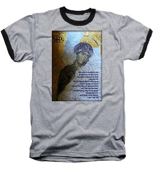 Mary's Magnificat Baseball T-Shirt by Stephen Stookey