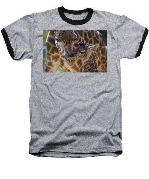 Masai Giraffe And Calf Baseball T-Shirt