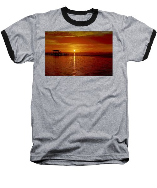 Mass Migration Of Birds With Colorful Clouds At Sunrise On Santa Rosa Sound Baseball T-Shirt by Jeff at JSJ Photography