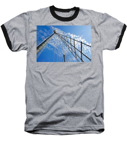 Masted Sky Baseball T-Shirt by Keith Armstrong