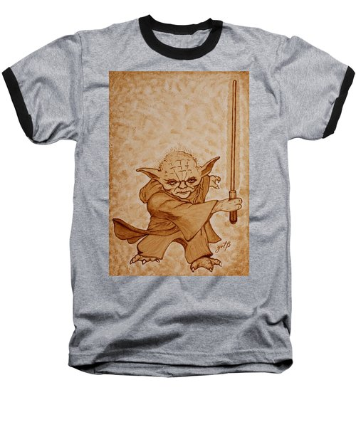 Baseball T-Shirt featuring the painting Master Yoda Jedi Fight Beer Painting by Georgeta  Blanaru