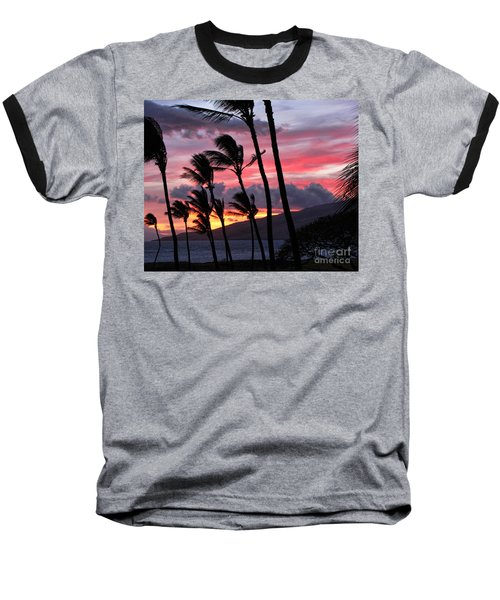 Baseball T-Shirt featuring the photograph Maui Sunset by Peggy Hughes