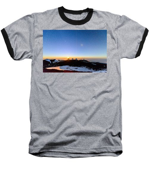 Mauna Kea Moonset 1 Baseball T-Shirt