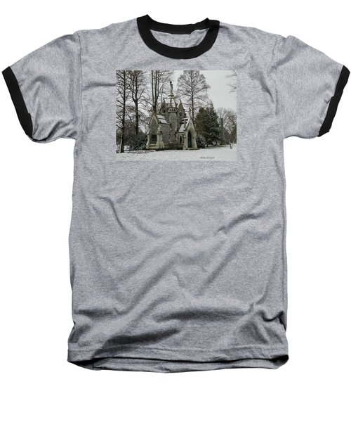 Baseball T-Shirt featuring the photograph Mausoleum In Winter by Kathy Barney