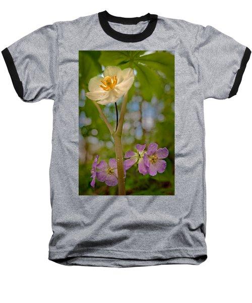 May Apples And Wild Geraniums Baseball T-Shirt