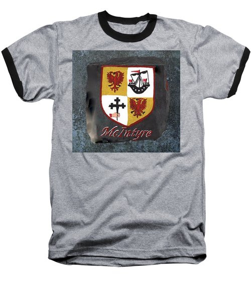 Baseball T-Shirt featuring the painting Mcintyre Coat Of Arms by Barbara McDevitt