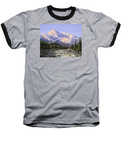 Majestic Denali Alaskan Painting Of Denali Baseball T-Shirt by Karen Whitworth