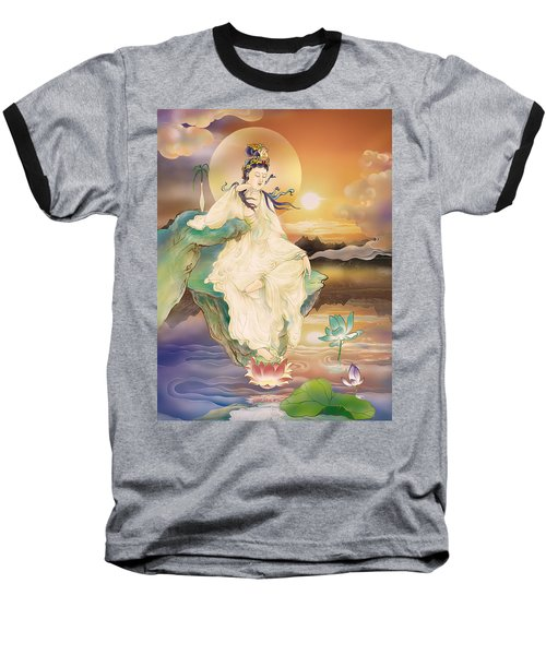 Medicine-giving Kuan Yin Baseball T-Shirt by Lanjee Chee