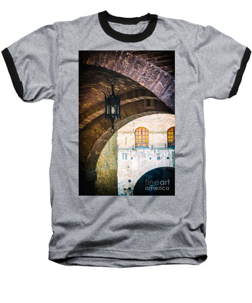 Baseball T-Shirt featuring the photograph Medieval Arches With Lamp by Silvia Ganora