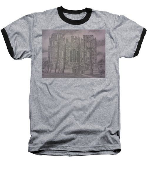 Baseball T-Shirt featuring the drawing Medieval Cathedral by Christy Saunders Church