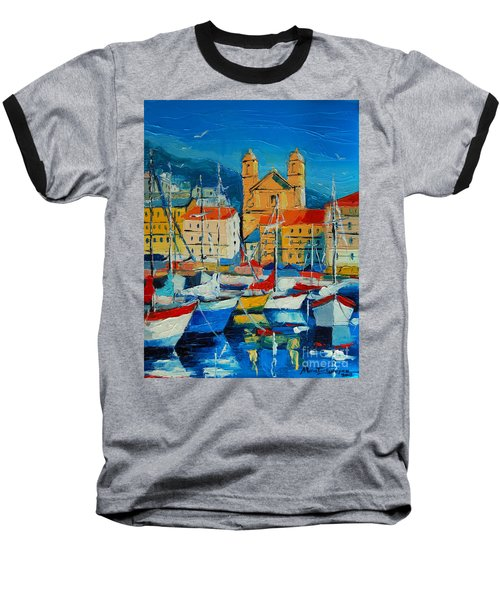 Mediterranean Harbor Baseball T-Shirt