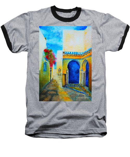 Baseball T-Shirt featuring the painting Mediterranean Medina by Ana Maria Edulescu