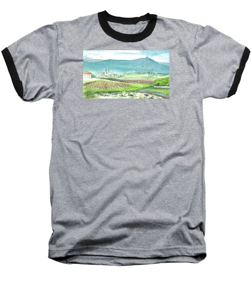 Baseball T-Shirt featuring the painting Medjugorje Fields by Christina Verdgeline