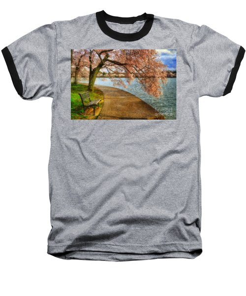 Meet Me At Our Bench Baseball T-Shirt by Lois Bryan