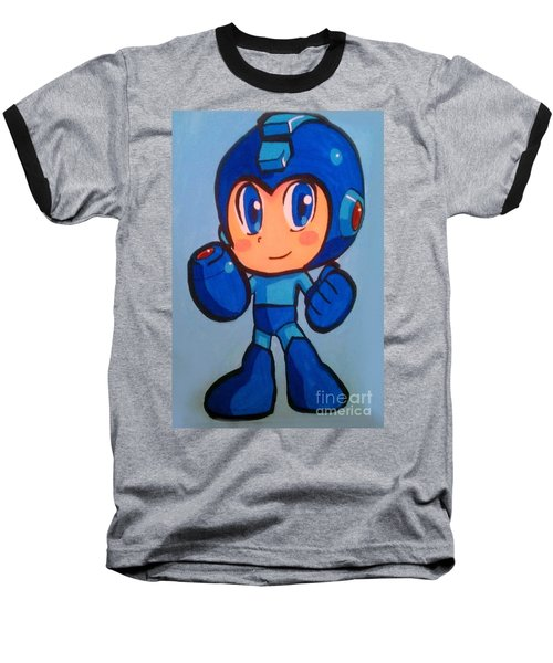 Baseball T-Shirt featuring the painting Mega Man by Marisela Mungia