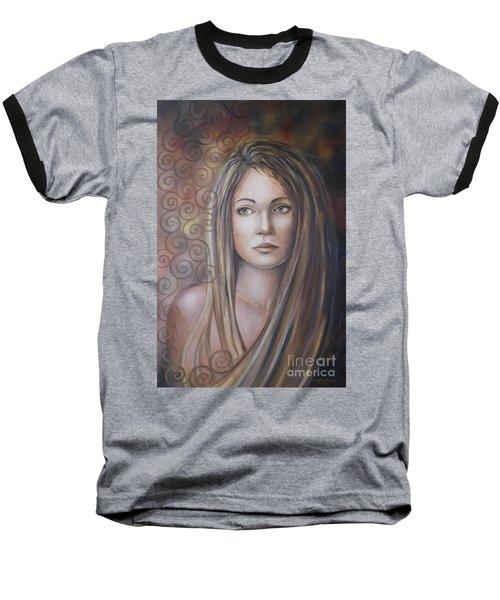 Baseball T-Shirt featuring the painting Melancholy 080808 by Selena Boron