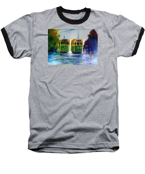 Baseball T-Shirt featuring the painting Melbourne Trams by Therese Alcorn