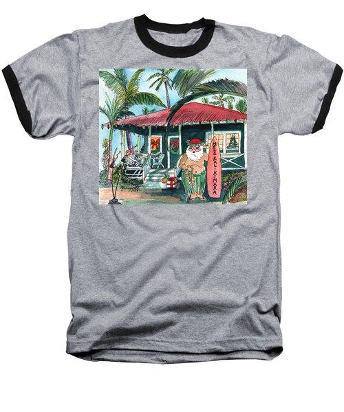 Mele Kalikimaka Hawaiian Santa Baseball T-Shirt