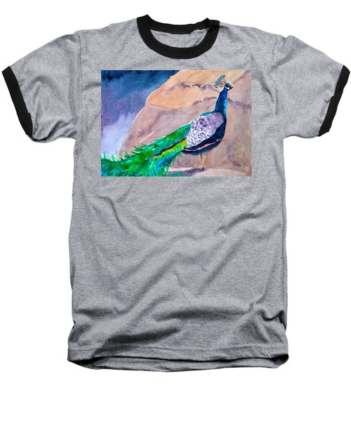 Baseball T-Shirt featuring the painting Mellow Peacock by Beverley Harper Tinsley