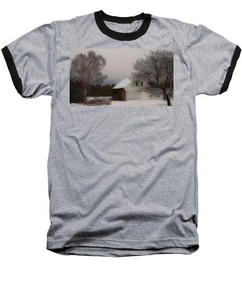 Melvin Village Barn In Winter Baseball T-Shirt