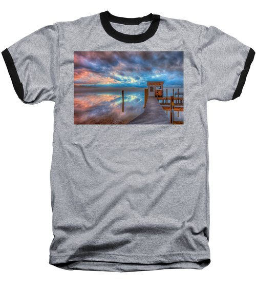 Melvin Village Marina In The Fog Baseball T-Shirt by Brenda Jacobs