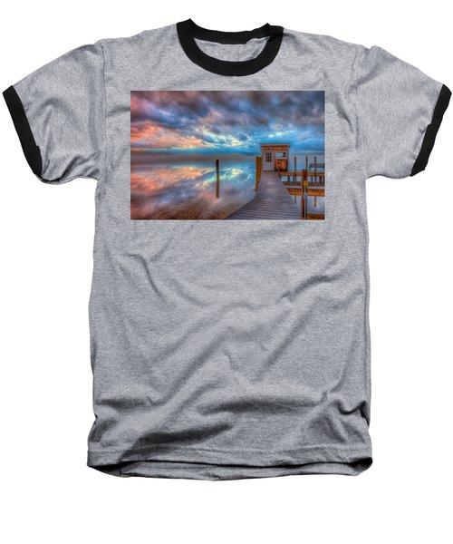 Melvin Village Marina In The Fog Baseball T-Shirt