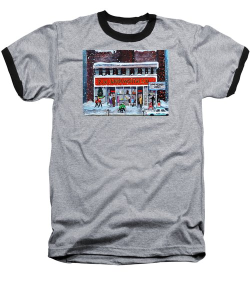 Memories Of Winter At Woolworth's Baseball T-Shirt by Rita Brown